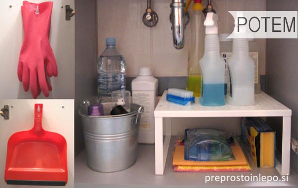 omara za čistila potem