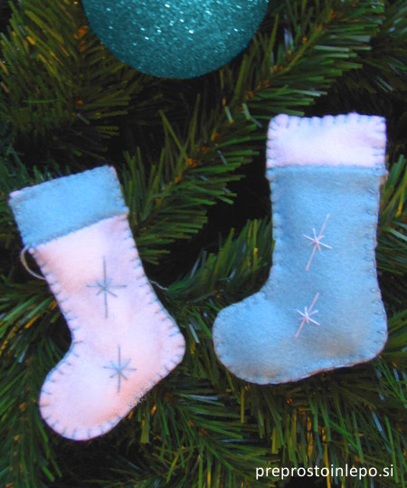 božični okraski iz filca nogavice