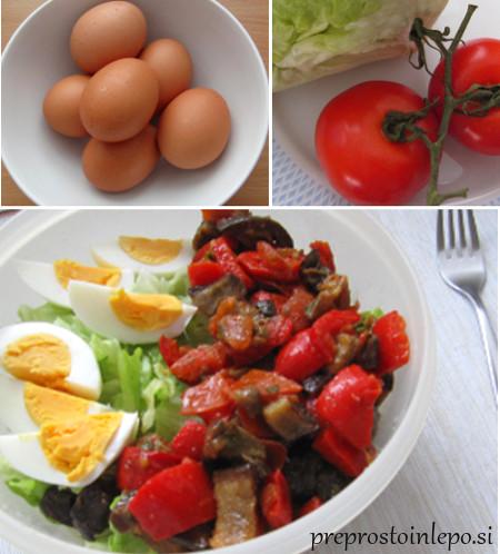 solata z jajci in praženo zelenjavo